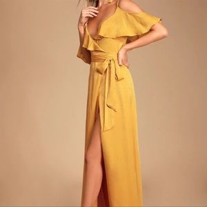 Lulu's Moriah Mustard Yellow Satin Wrap Dress